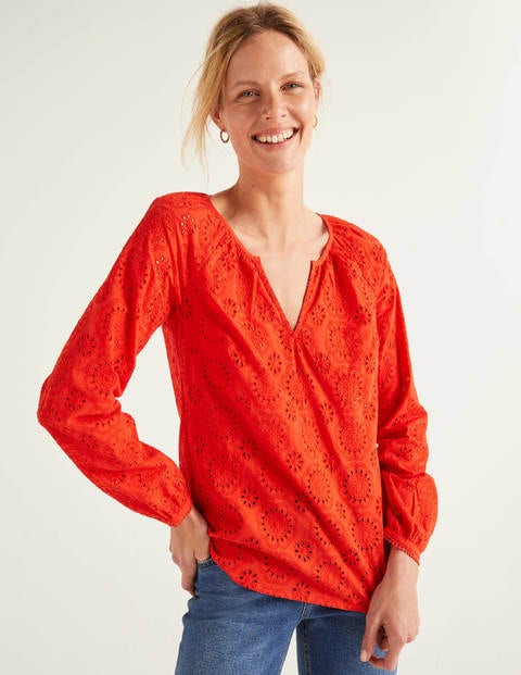 Priscilla Broderie Blouse - Orange Sunset