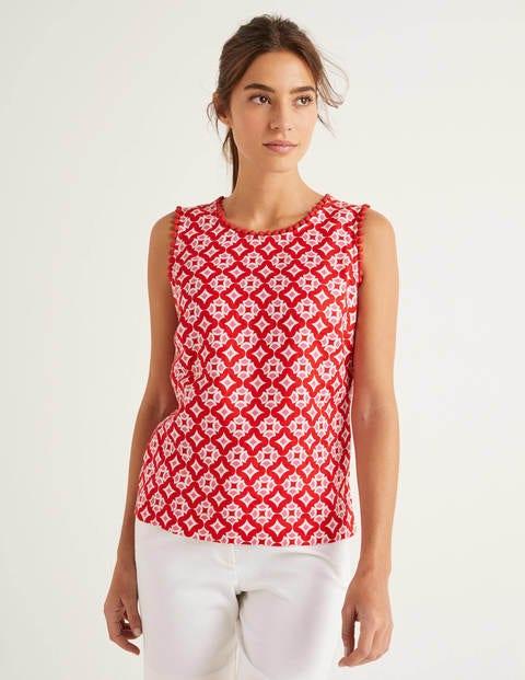 Romaine Linen Top - Post Box Red, Diamond Drop