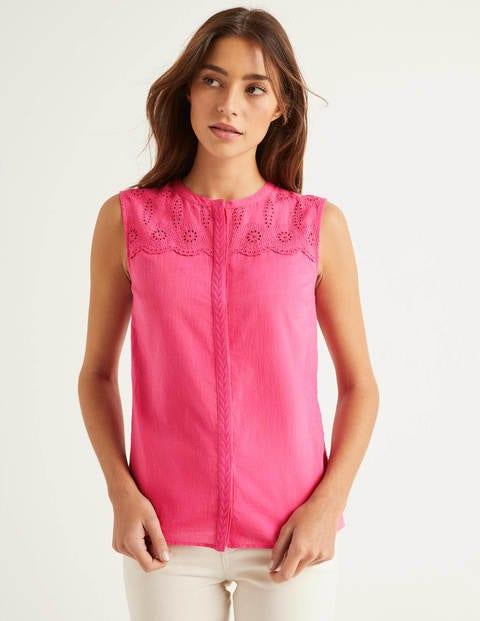 Casey Broderie Shirt - Bright Camellia
