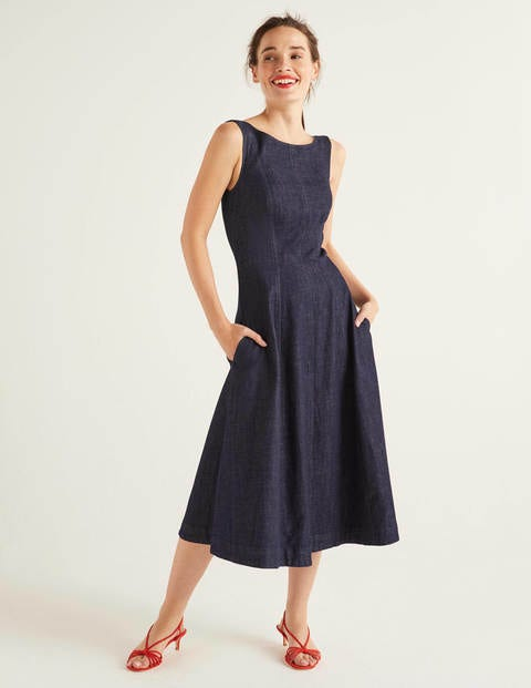 Penelope Denim Midi Dress - Rinse Indigo
