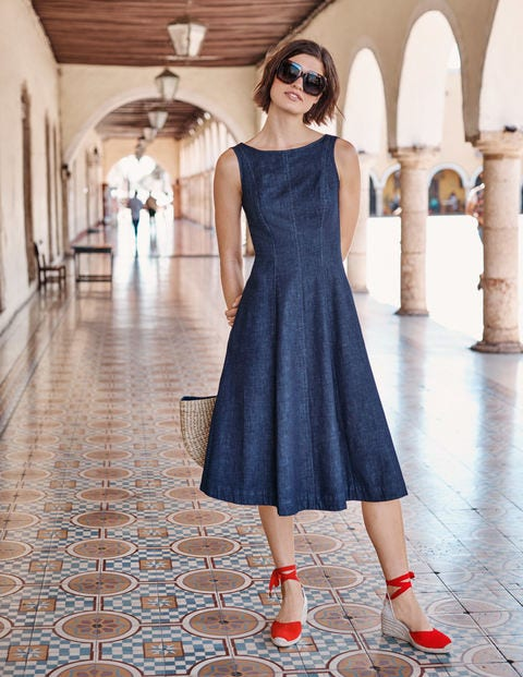 Penelope Denim Midi Dress - Rinse Indigo