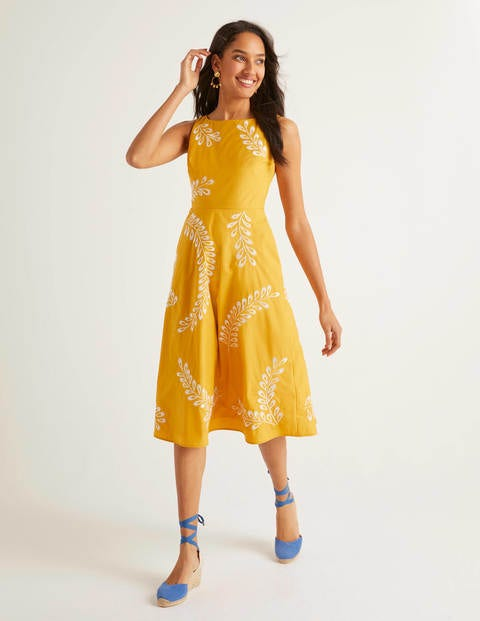 boden - Fenella Kleid mit Stickerei Yellow Damen , Yellow