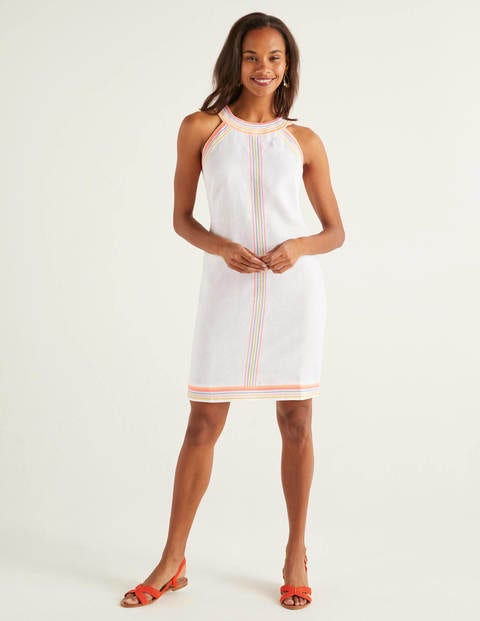 Dollie Embroidered Linen Dress - White