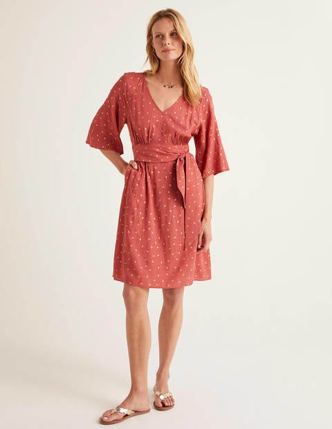 Dominique Belted Dress - Rouge, Polka Spot