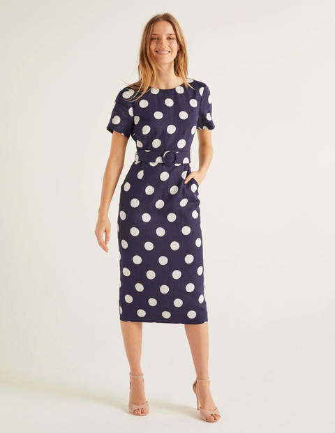 Hazel Belted Linen Dress - French Navy, Brand Spot