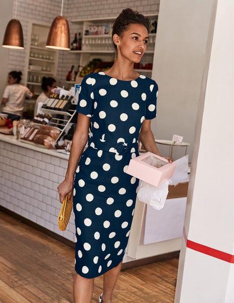 Hazel Belted Linen Dress - French Navy, Brand Spot