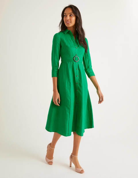 Olivia Linen Shirt Dress - Rich Emerald