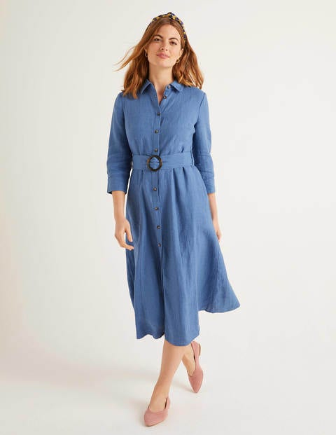Olivia Linen Shirt Dress - Delave