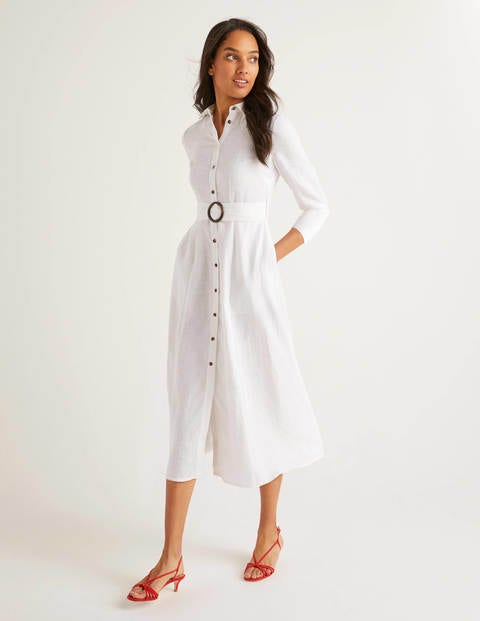 Olivia Linen Shirt Dress - White