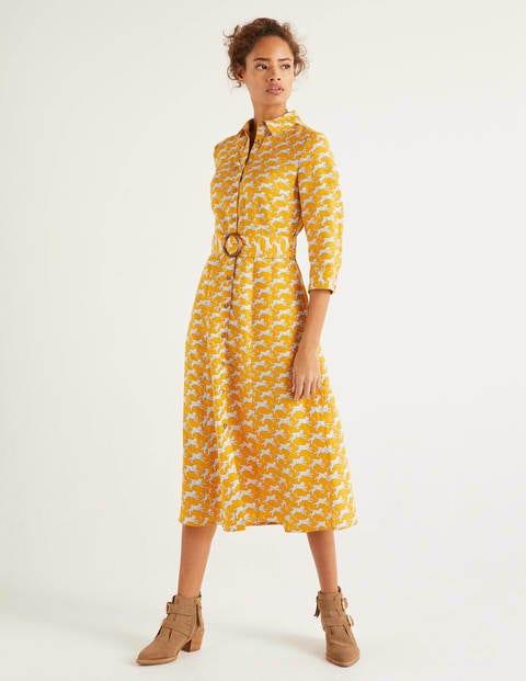 boden - Olivia Hemdblusenkleid aus Leinen Yellow Damen , Yellow
