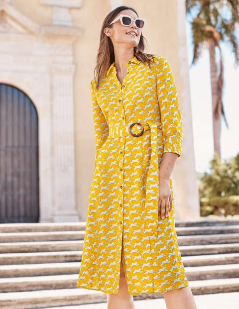 Olivia Linen Shirt Dress - Yellow, Spotted Cheetah