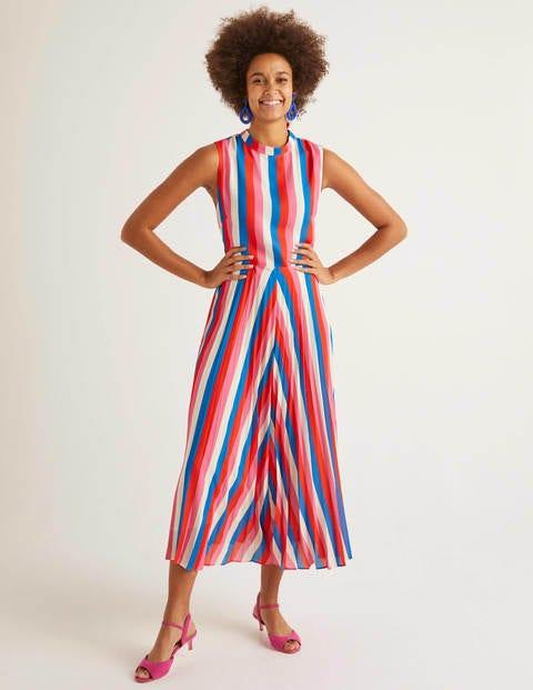 Jocelyn Pleated Midi Dress - Bold Blue, Camellia Stripe