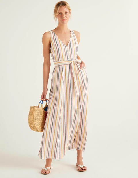 Livia Linen Maxi Dress - Multi Stripe