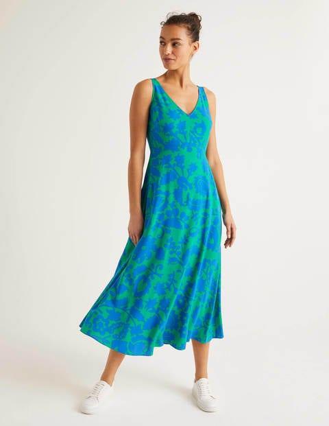 Rosaline Midi Dress - Rich Emerald, Tropical Retreat