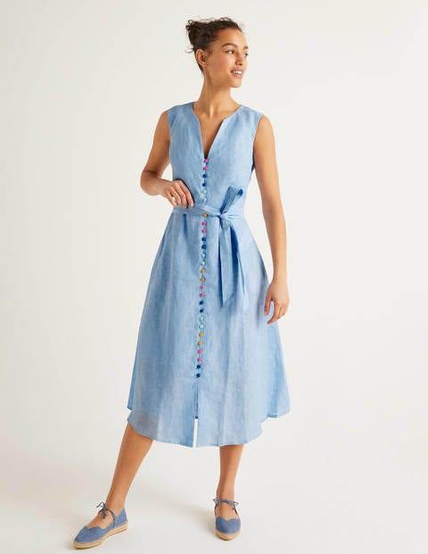 Cecilia Linen Dress - Chambray