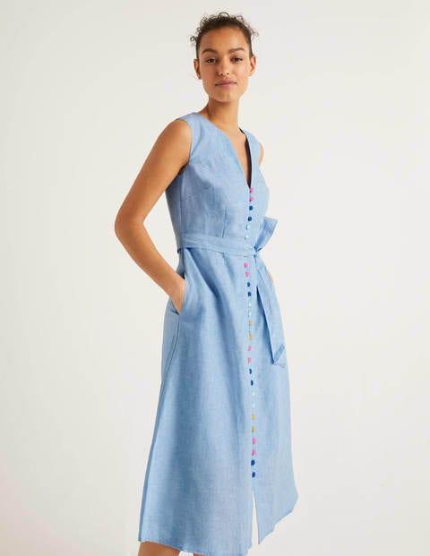 Cecilia Linen Dress - Chambray | Boden AU