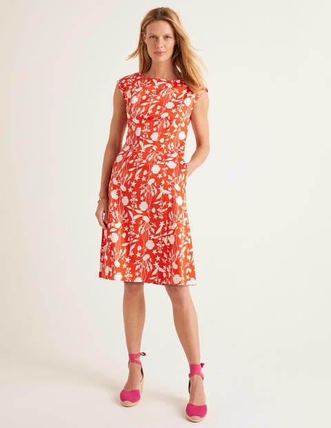 Rosamund Dress - Orange Red, Garden Charm