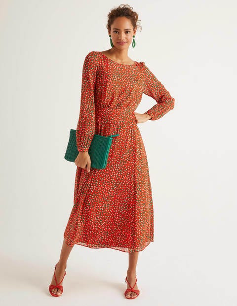Ingrid Midi Dress - Orange Sunset, Speckle