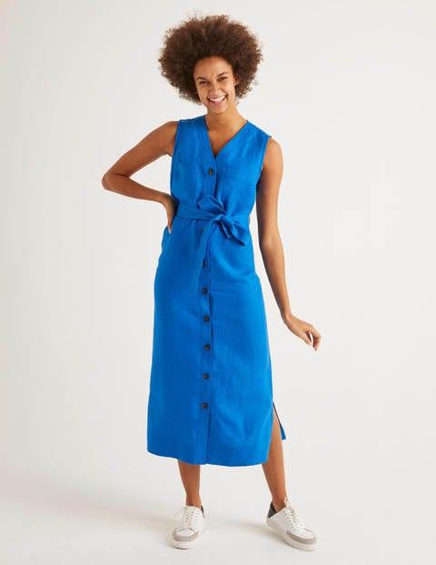 Catriona Linen Dress - Bold Blue