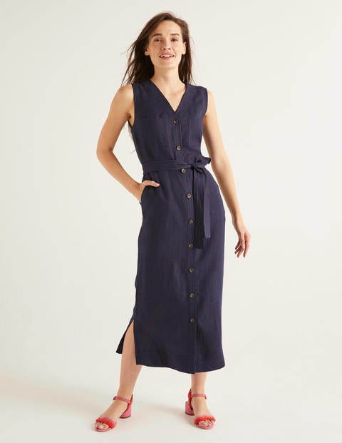 Catriona Linen Dress - Navy