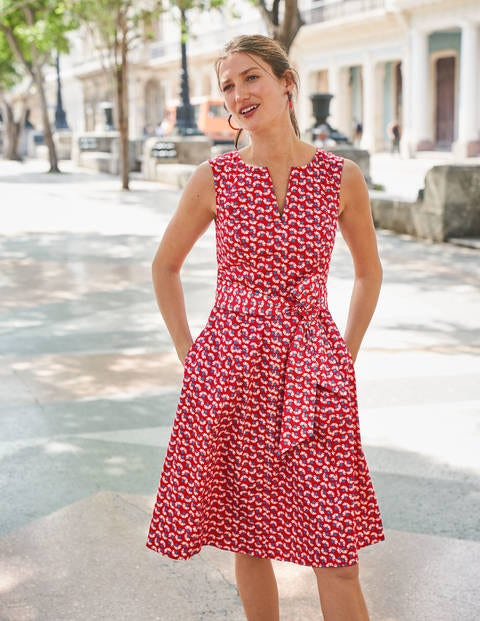 Mischa Belted Dress - Red, Daisy Petals