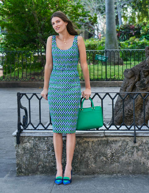 May Textured Dress - Rich Emerald, Deco Fan