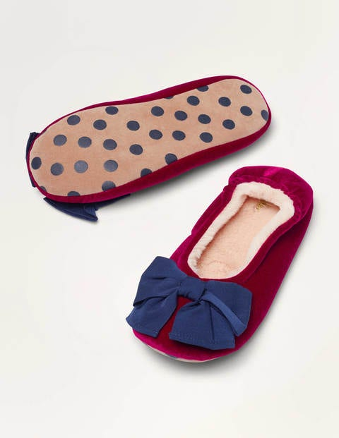 Cosy Velvet Bow Slippers