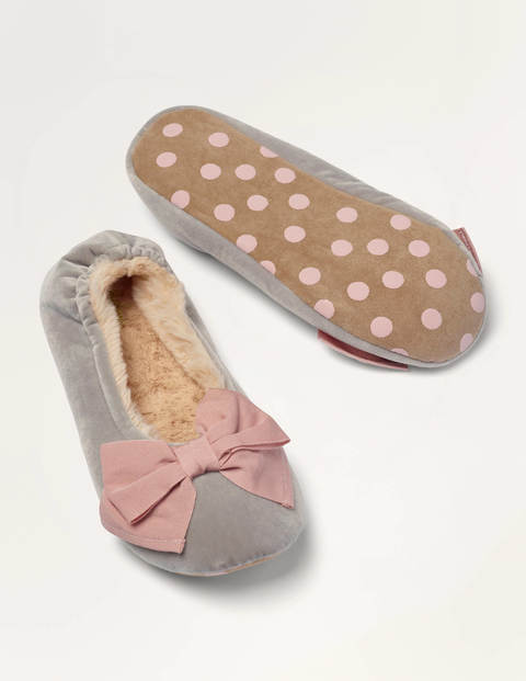 Cosy Velvet Bow Slippers - Tin Grey/Milkshake