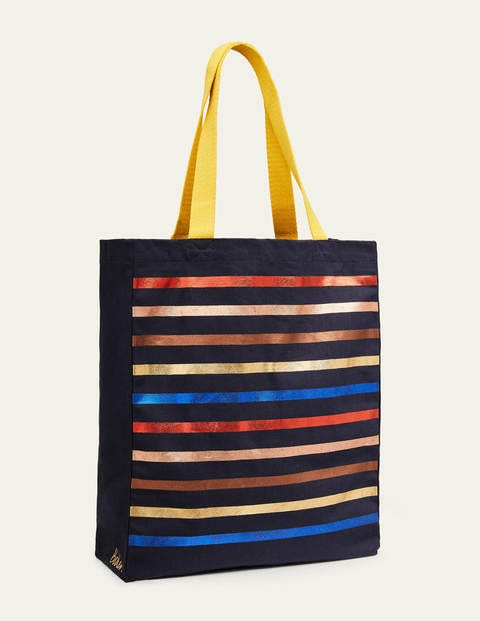 Gemusterter Shopper - Navy