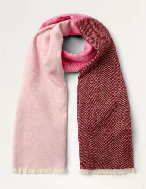 Wool Herringbone Scarf - Pink Multi