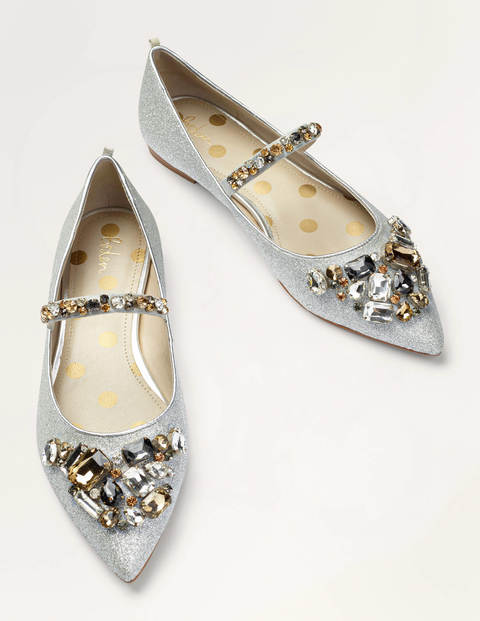 Amy Embellished Flats - Silver Glitter/Clear Jewels