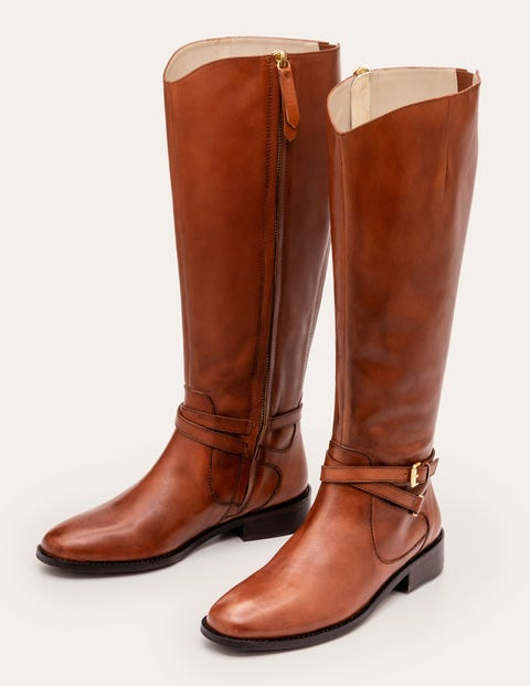 Pembroke Knee High Boots - Dark Tan