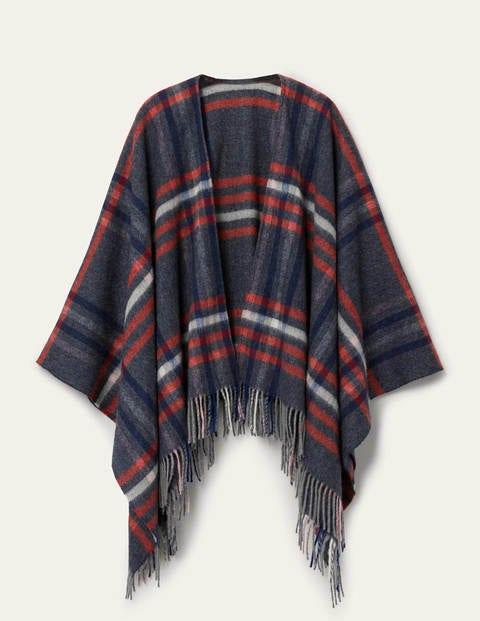 Wool Cape - Dark Grey Check