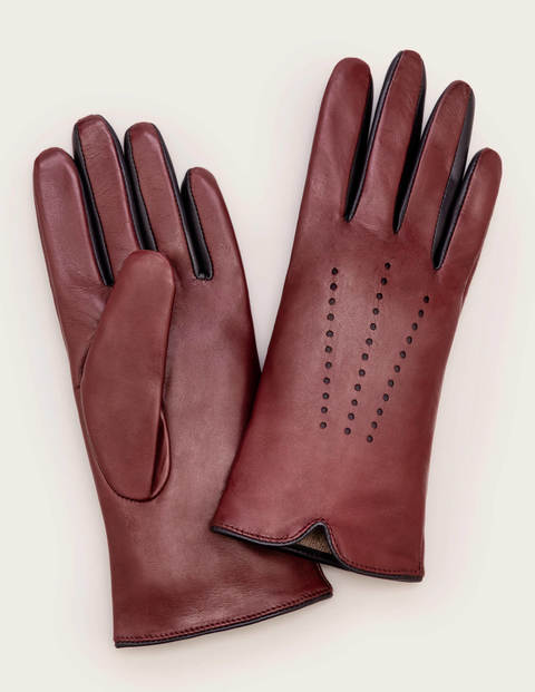 Leather Gloves - Oxblood/Navy