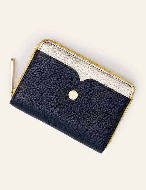 Mini-portefeuille - Bleu marine/doré métallisé/chartreuse