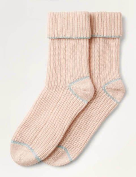Cashmere Socks - Milkshake/Lomond Blue