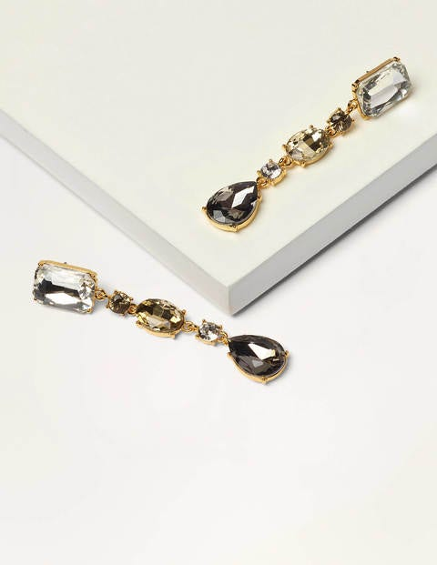 Jewelled Drop Earrings - Smoke