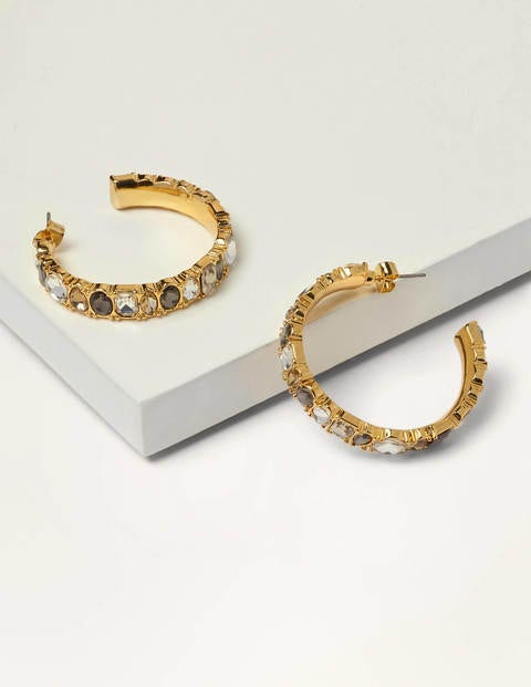 Jewelled Hoop Earrings - Smoke