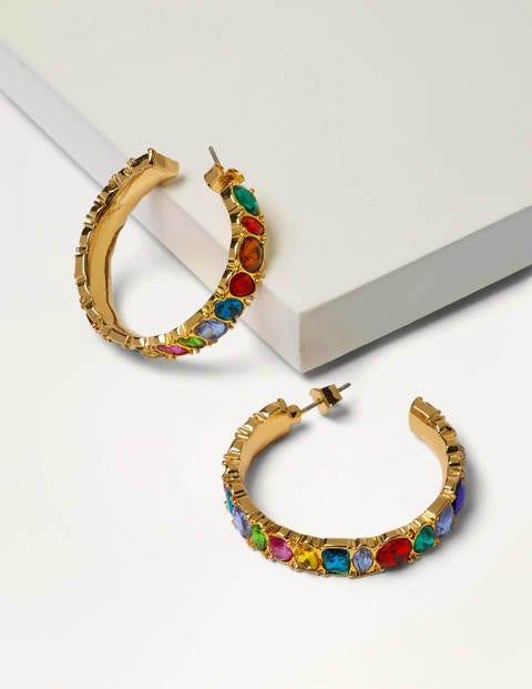 Jewelled Hoop Earrings - Multi