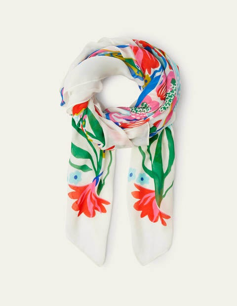 Print Scarf - Ivory, Exotic Escape