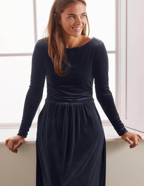 Lois Velvet Dress - Navy