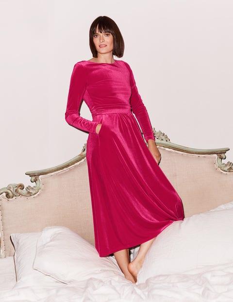 Lois Velvet Dress - Pink Flambe