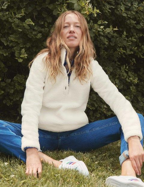 Martha Teddy Sweater - Ivory/Navy