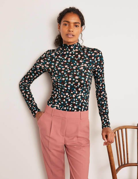 Evie Jersey-Langarmshirt mit Polokragen - Schwarz, Gemaltes knalliges Muster