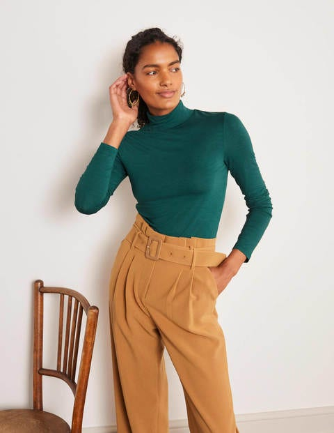 Evie Jersey Polo Neck Top - Deep Forest