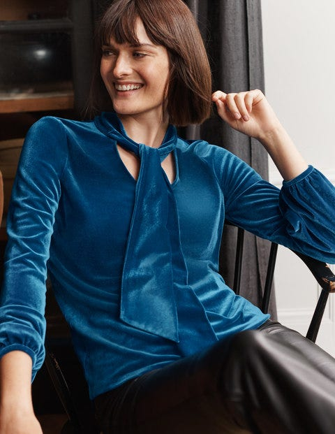 Blue Nancy Velvet Top