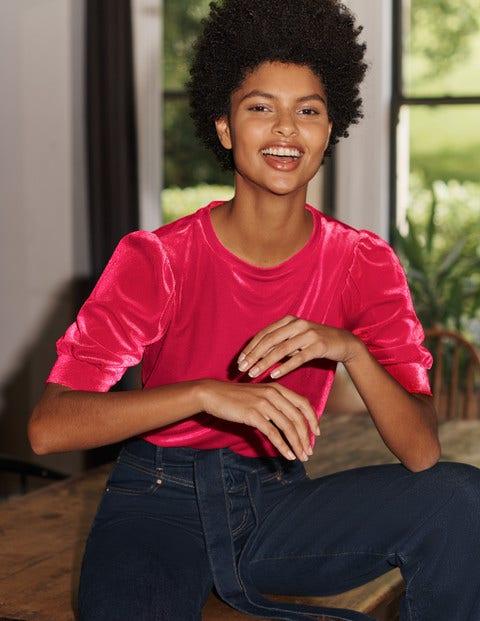 Maddie Velvet Puff Sleeve Top - Pink Flambe