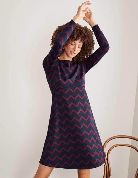 Annie Jacquard Dress - Navy Ruby Ring, Chevron Mono