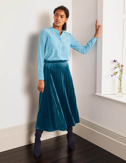 Roberta Velvet Skirt - Rich Teal