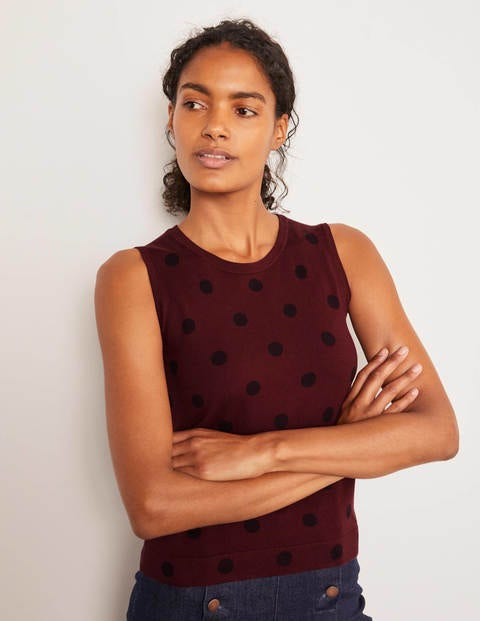 Favourite Knitted Tank - Maroon, Linear Spot